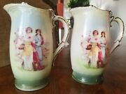 2 Vintage Porcelain Hand Painted Pitchers Stamped Made With In Czechoslovakia 6