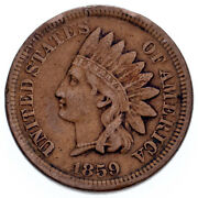 1859 1c Indian Cent Vf Condition, Brown Color, Clear Liberty And Beads