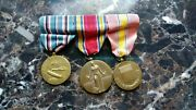 3 Wwii Us Medal Set Ww2 American Campaign National Defense 1941-1945