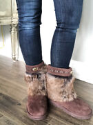 New Ugg Suede Brown Vilet Toscana Cuff Bling Boots Size Us 6 319 1007684