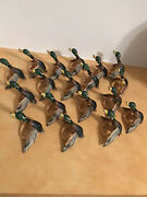 18 Wooden Ducks Decoy Napking Ring Holders Hand Painted