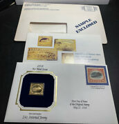 Ip- Air Mail Issue Of 1918 22kt Gold 24 Cent Inverted Jenny Stamp Postal Comm.