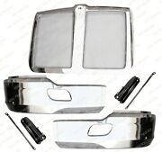 Qsc Chrome Steel Bumper Corner Left And Right Pair W/ Grille For Kenworth T680