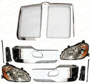 Qsc Chrome Steel Bumper And Headlight Left Right Pair W/ Grille For Kenworth T680