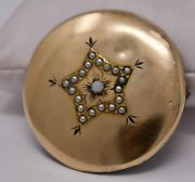 Antique Victorian C. 1880 Brooch Round 14k Gold Front Opal And Seed Pearl - Star