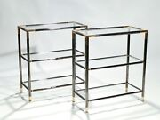 Pair Of French Gunmetal And Brass Three Tiered Shelves 1970s