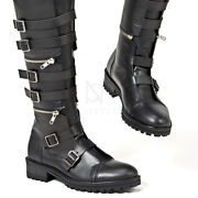 Newstylish Mens Three-stage Separable Belted Long Biker Leather Boots