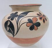 Large Early Santo Domingo Olla With Butterfly - Flowers 9 1/4 X 10 1/ C.1920
