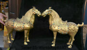 16 Old China Bronze 24k Gilt Gold Inlay Jewel Dynasty Stand Horse Statue Pair