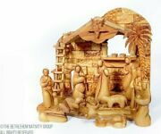 12 Piece Hand Carved Olive Wood Faceless Musical Nativity Set / Free Ornaments