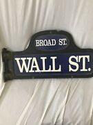 Original Wall And Broad Street Sign- 3 Dimension Signed Sculpture