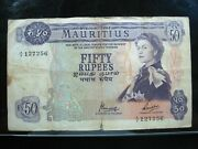 Mauritius 50 Rupees 1967 British Queen Bankchop 56 Currency Bank Money Banknote