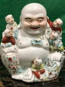 Lg Antique Early Republic Chinese Famille Rose Porcelain Laughing Buddha Statue