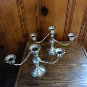 3 Arm Andnbsp- 7 Tall Antique Candelabra Sterling Silver Weighted 3 Arm Candelabra