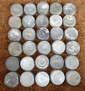30 Old Vintage Ball Zinc Canning Jar Metal Cap Lids Circles And Numbers All Tested