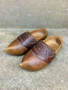 Antique French Child Hand Carved Folk Art Wooden Shoes Clogs 1937 Size 2-3 Years