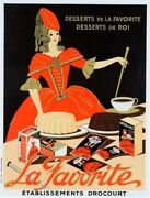 Original 1920/30and039s French Chocolate Poster La Favorite A Dessert For Kings