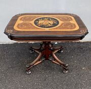 Berkley And Gay Inlayed Renaissance Revival Parlor Table. 1870s.victorian/rosewood