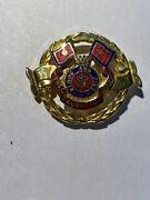 Salvation Army Blood And Fire Vintage Enamel Hat Pin Badge Gold Tone.