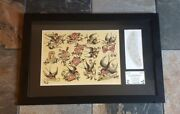 2 Sailor Jerry Collins Acetate Stencil Tattoo Hand Etched Signed Sj Swallow Rose