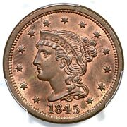 1845 N-9 R-2 Pcgs Ms 64 Rb Braided Hair Large Cent Coin 1c