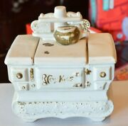 Mccoy Pottery Stove Oven Cookie Jar White Gold Accent Vintage 10 X 9 X 6