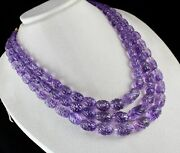 Certified Natural Amethyst Carved Beads 3 L 1152 Cts Gemstone Antique Necklace