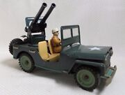 Awesome Rare Vintage Military Jeep /w Cannon Tin Friction Car Toy - Japan 1950s
