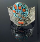 Chief Shatka Bear Step Native American Sterling Silver Turquoise Coral Bracelet