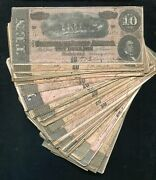 50 1864 10 Ten Dollars Csa Confederate States Of America Currency Notes