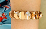 14k Solid Rose Gold Bracelet 7.5 Inches With White Stone 19.95gm