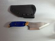Meglio Knives - Chisel Ground Blade W/blue Stabilized Wood Handle.