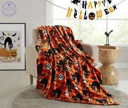 Luxurious Harvest Fall Orange Plaid Halloween Throw Blanket For In And Outdoor Use