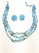 Vintage Milk Glass Blue Opalescent Glass Necklace Errings West Germany 3 Strand