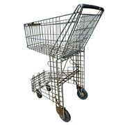 Antique Vintage Salvaged Decor Industrial Grocery Shopping Carriage Cart 1940's