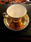 Gold Gilded On Porcelain Mini Teacup And Saucer Unbranded Pre-owned
