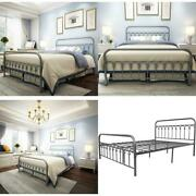 Metal Bed Frame Queen Size With Vintage Headboard And Footboard Platform Base Wr