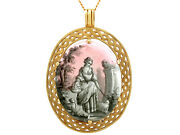Antique French Painted Enamel And Mother Of Pearl 18k Yellow Gold Pendant