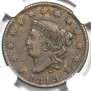 1819 N-10 Ngc Xf 40 Matron Or Coronet Head Large Cent Coin 1c Ex Eric P. Newman