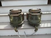 Pair Of Antique Large Brass Signed Copper Ship Boat Marine Lanterns