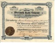 Iowa 1896 Mercantile Realty Company Stock Certificate Sioux City