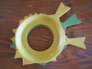 Set Of 3 Vintage 1960s Colorful Plastic Fish Paper Plate Holders 2 Gold 1 Green