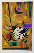 Werner Drewes Original Pencil Signed Color Woodcut 1980 Rare Witches Dance