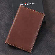Kiton Brown Soft Calf Leather Mini Travel Wallet With Address Book