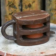 Antique Vintage Wooden Boat Ship Steel Pulley Industrial Nautical