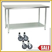 30 X 60 Stainless Steel Work Table Kitchen Prep Commercial W/ 4 Caster Wheels