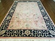 6and039 X 9and039 Vintage Hand Made India Wool Rug Hunting Lion Birds Tree Of Life Salmon