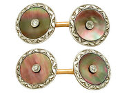 Antique Circa 1920 Mother Of Pearl And 0.12 Ct Diamond 14k Yellow Gold Cufflinks