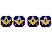 Antique 9k Yellow Gold And Enamel Freemasons' 'square And Compass' Cufflinks