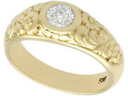 Antique 0.42 Ct Diamond And 14k Yellow Gold Solitaire Ring Size 6.75